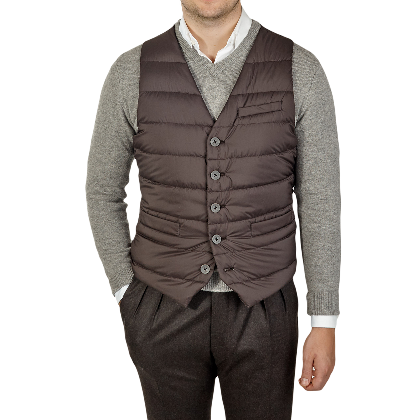 Herno Brown Light Goose Down Legend Gilet Front