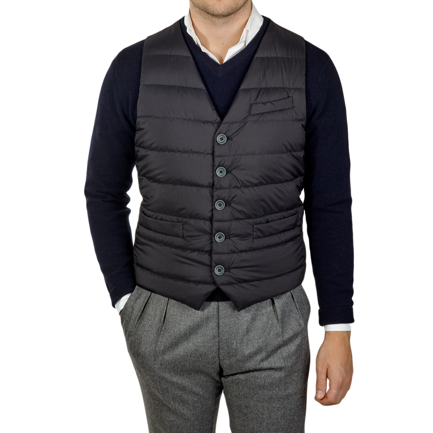 Herno Navy Light Goose Down Legend Gilet Front