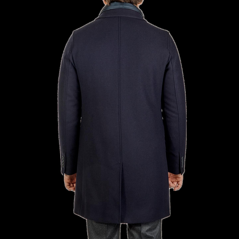 Herno Navy Wool Down Padded Diaganol Coat Back