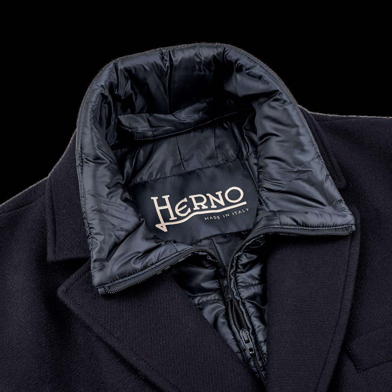 Herno Navy Wool Down Padded Diaganol Coat Collar