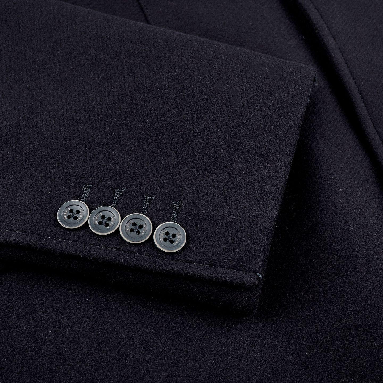 Herno Navy Wool Down Padded Diaganol Coat Cuff