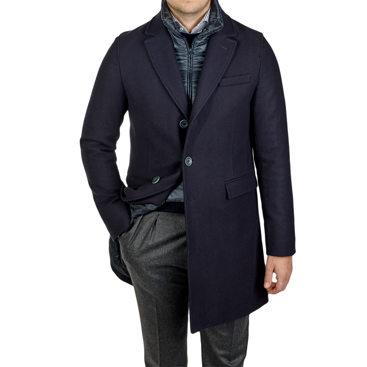 Herno Navy Wool Down Padded Diaganol Coat Feature