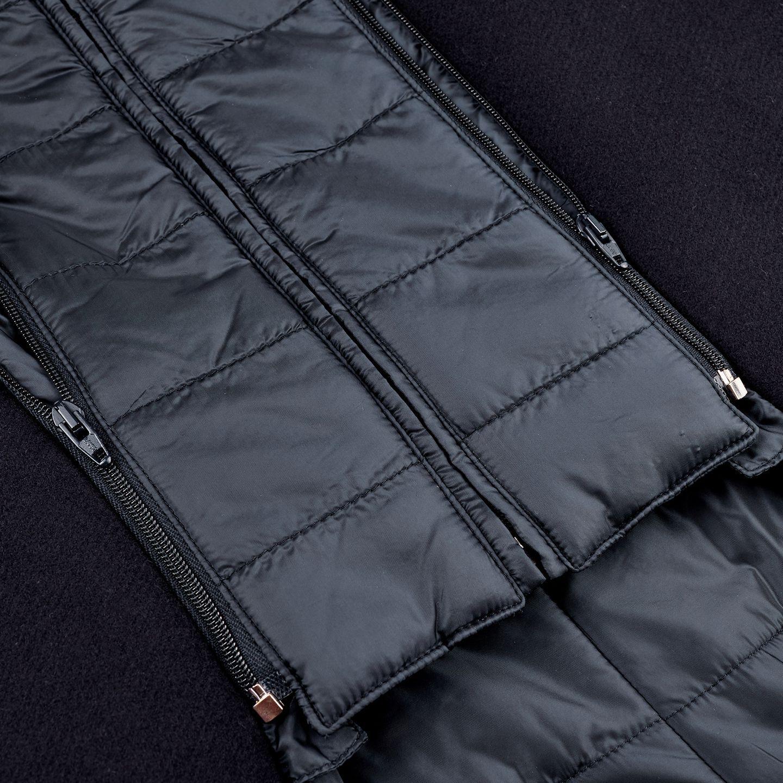 Herno Navy Wool Down Padded Diaganol Coat Zipper