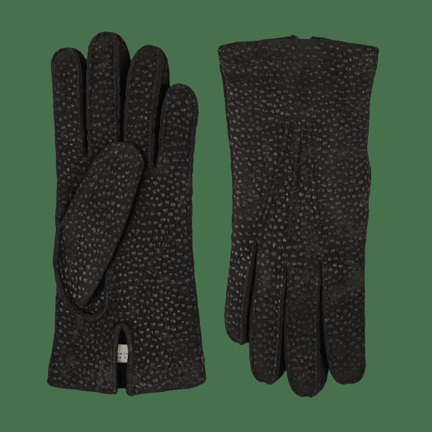 Hestra Black Carpincho Handsewn Cashmere Gloves