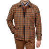 Lardini Brown Houndstooth Fur Lined Wool Jacket Front