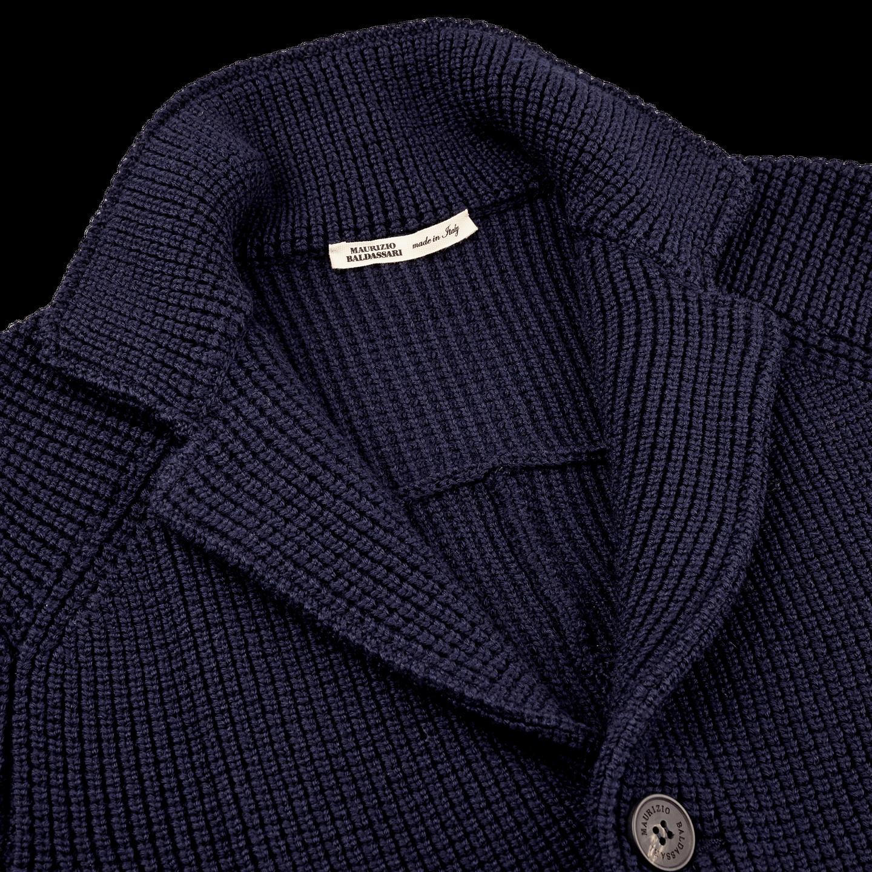 Maurizio Baldassari Navy Knitted Brenta Jacket Collar