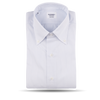 Mazzarelli White with Thin Blue Stripe Button Down Regular Fit Shirt Front