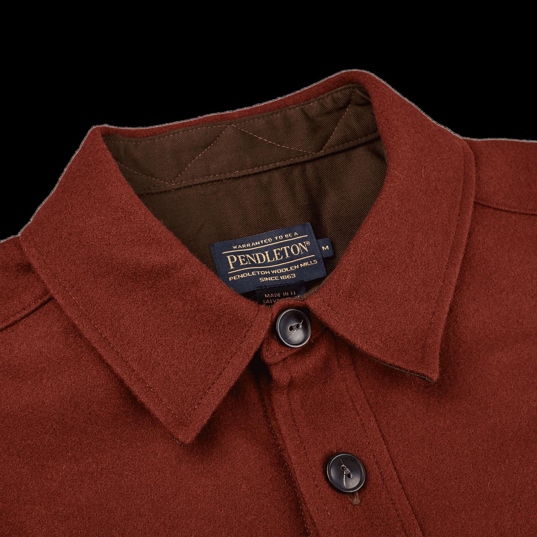 Pendleton Beige Tobacco Thomas Kay Wool Overshirt Collar
