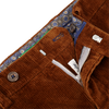 San Siro Light Brown Cotton Stretch Corduroy Palma Trousers Open