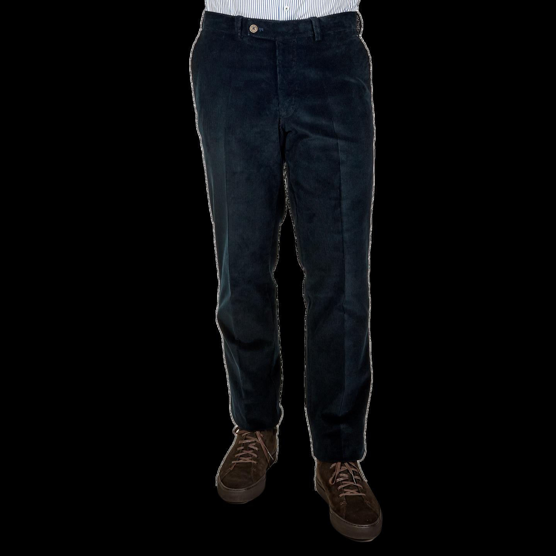 San Siro Navy Cotton Stretch Corduroy Palma Trousers Front