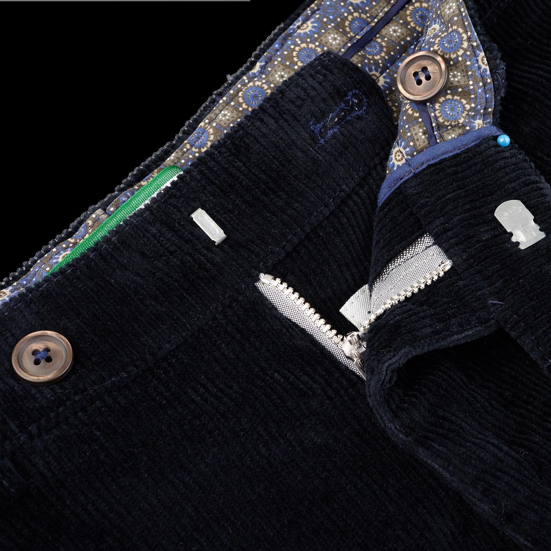San Siro Navy Cotton Stretch Corduroy Palma Trousers Open