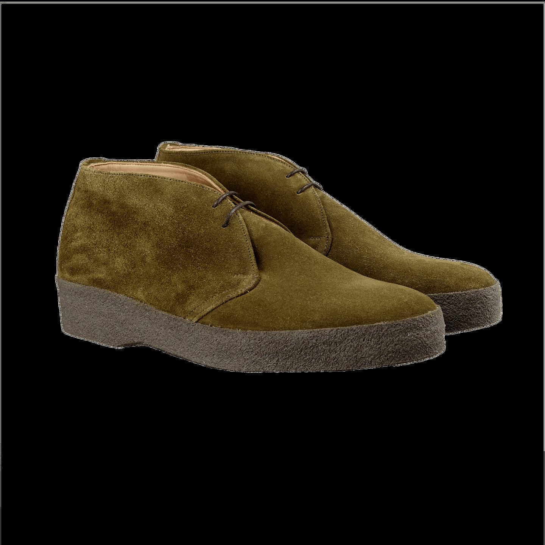 Sanders Moss Green High-Top Suede Boot Front