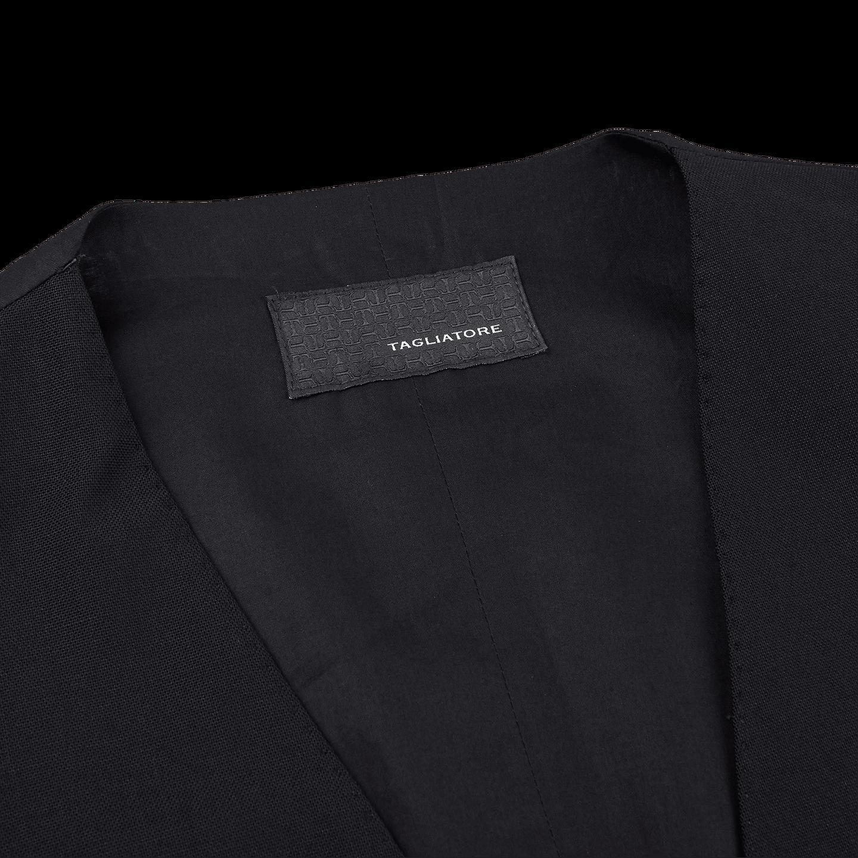 Tagliatore Black Fresco Wool Waistcoat Collar
