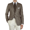 Tagliatore Cream Brown Gun Club Wool Blazer Front