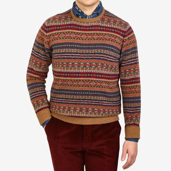 William Lockie Brown Fairisle Crew Neck Lambswool Sweater Front