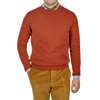 William Lockie Burnt Orange Crew Neck Lambswool Sweater Front