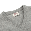 William Lockie Flannel Grey V-neck Lambswool Sweater Collar
