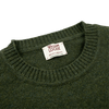 William Lockie Rosemary Green Crew Neck Lambswool Sweater Collar