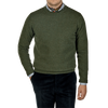 William Lockie Rosemary Green Crew Neck Lambswool Sweater Front