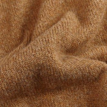 William Lockie Savannah Brown Lambswool Cardigan Fabric