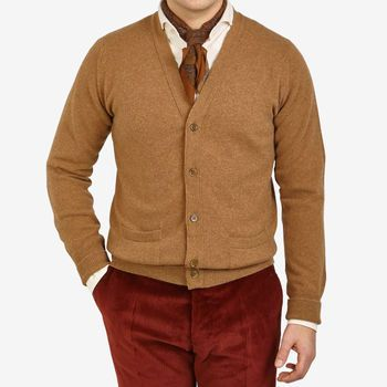 William Lockie Savannah Brown Lambswool Cardigan Front