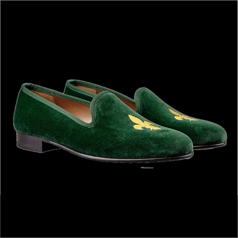 Bow Tie Dark Green Fleur De Lys Velvet Slippers Front