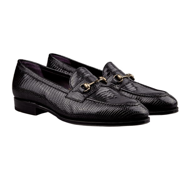 Carmina Black Lizard Horse-Buckle Loafers Front