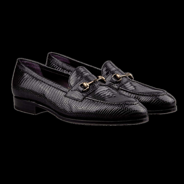 Carmina Black Lizard Horse-Buckle Loafers Front