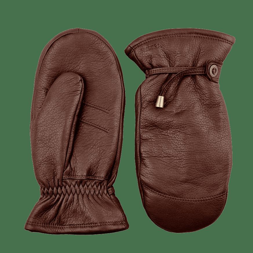 Chocolate Brown Lambskin Lined Deerskin Gloves
