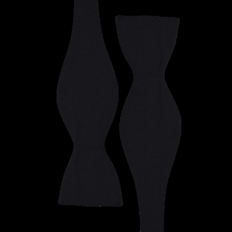 Drake's Black Self Tie Grosgrain Silk Bow Tie Strap