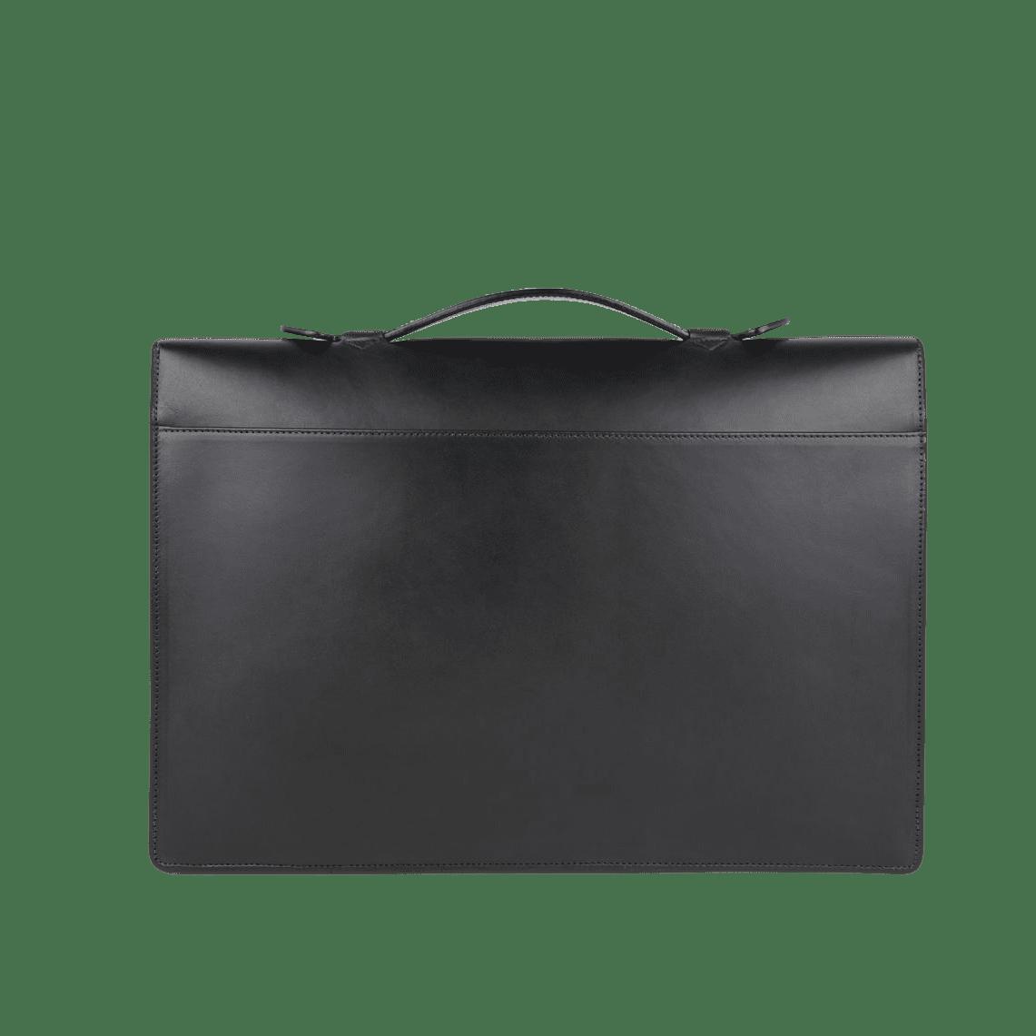 Frank Clegg Black The Port Brief Leather Briefcase Back