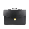 Frank Clegg Black The Port Brief Leather Briefcase Front