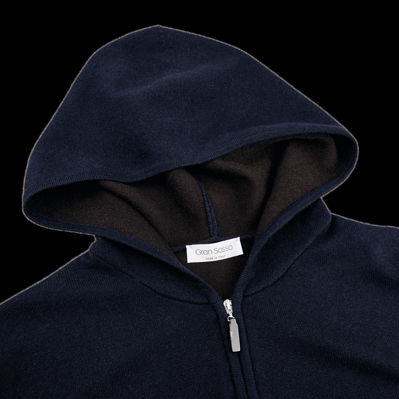 Gran Sasso Navy Cashmere Full-Zip Hood Sweater Collar