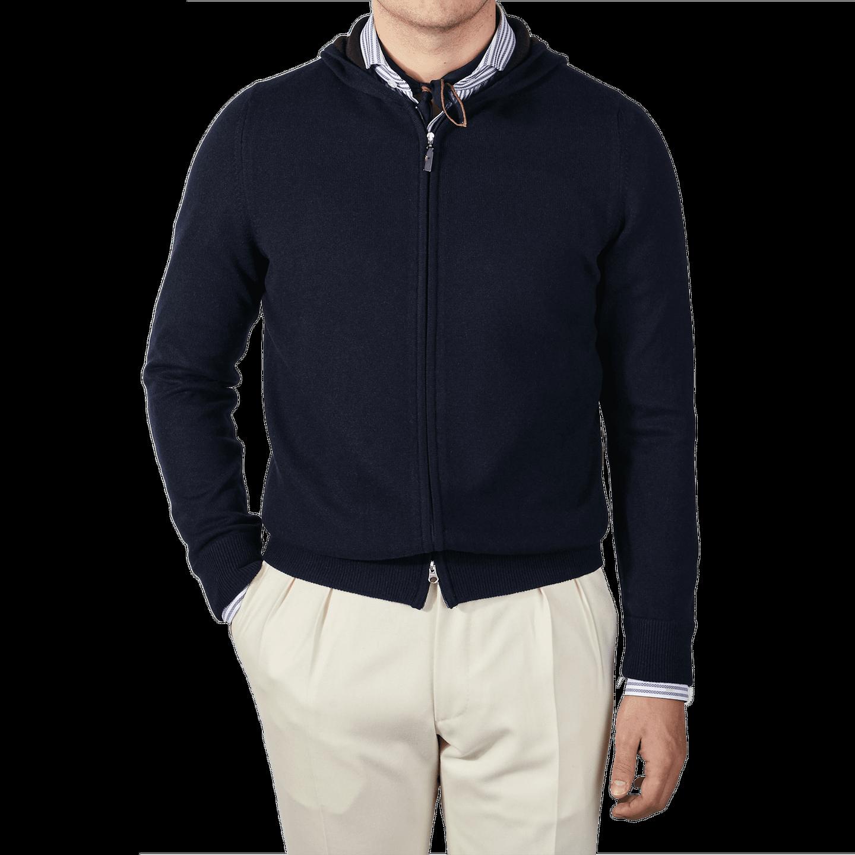 Gran Sasso Navy Cashmere Full-Zip Hood Sweater Front