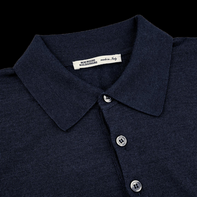 Maurizio Baldassari Knitted Blue Wool Silk Polo Shirt Collar