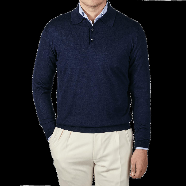 Maurizio Baldassari Knitted Blue Wool Silk Polo Shirt Front