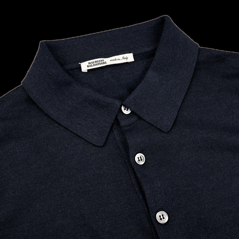 Maurizio Baldassari Knitted Navy Blue Wool Silk Polo Shirt Collar