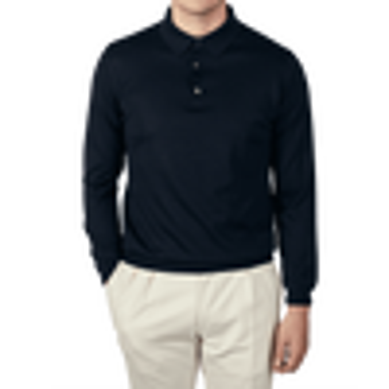 Maurizio Baldassari Knitted Navy Blue Wool Silk Polo Shirt Front