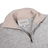 Baltzar 1906 Grey Melange Pure Cashmere Half Zip Sweater Collar