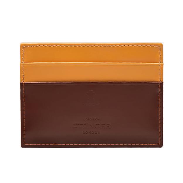 Ettinger Brown Sterling Flat Credit Card Case Front