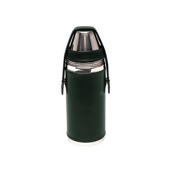 Ettinger Green Hunter's Flask with 4 Cups Front