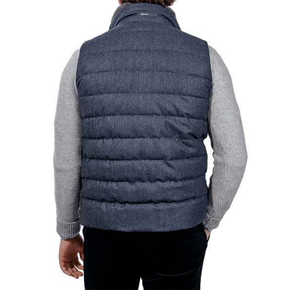 Herno Blue Wool Flannel Beaver Collar Gilet Back