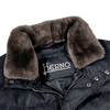 Herno Blue Wool Flannel Beaver Collar Gilet Collar