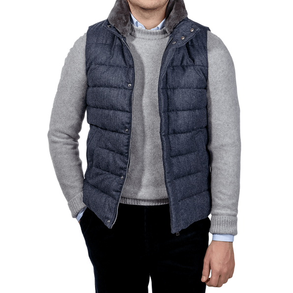 Herno Blue Wool Flannel Beaver Collar Gilet Front