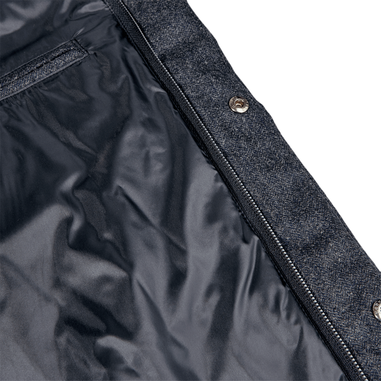 Herno Blue Wool Flannel Beaver Collar Gilet Inside