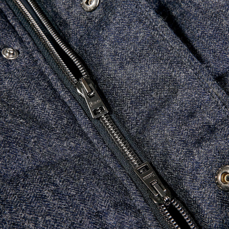 Herno Blue Wool Flannel Beaver Collar Gilet Zipper