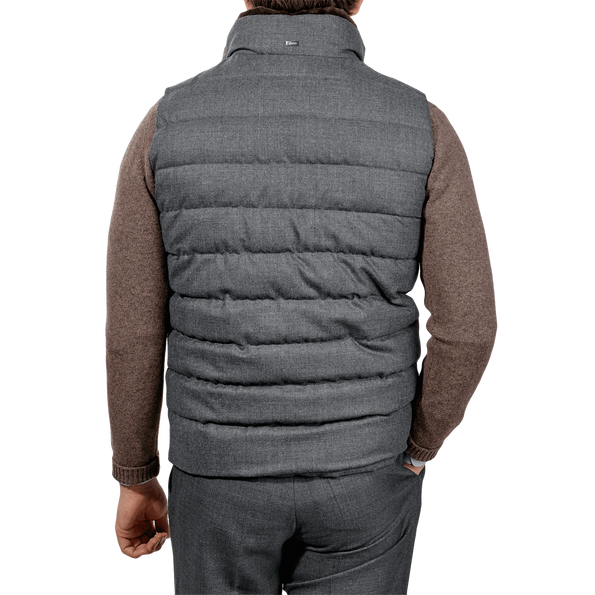 Herno Grey Wool Flannel Beaver Collar Gilet Back