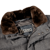 Herno Grey Wool Flannel Beaver Collar Gilet Collar