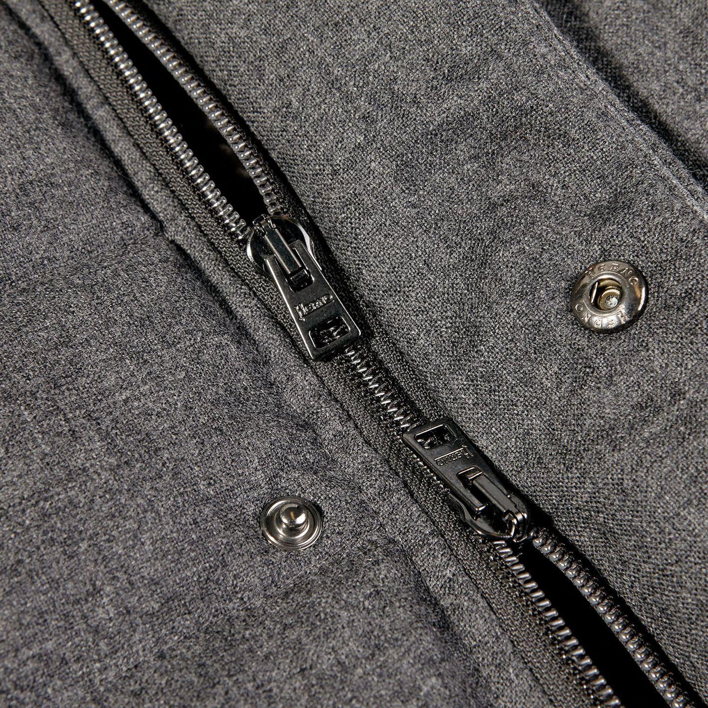 Herno Grey Wool Flannel Beaver Collar Gilet Zipper