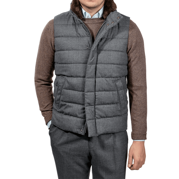 Herno Grey Wool Flannel Beaver Collar Gilet Front